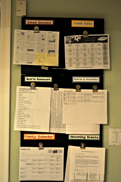 kitchen paperwork wall Family Routines  What We Do After School