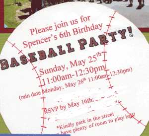 Baseball Psrty Invite 300x274 Great 6 Year Old Birthday Party Idea: A Baseball Party!