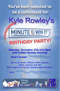 Kyles Minute to Win It Par 199x300 Great 10 Year Old Boys Birthday Idea: Minute to Win It Party!