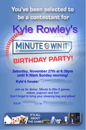 Kyles Minute to Win It Par Great 10 Year Old Boys Birthday Idea: Minute to Win It Party!