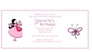 Charlottes 7th Birthday Invite 300x171 Great 7 Year Old Girl Birthday Party Idea: Tea and Craft Party!