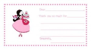 Charlottes 7th Birthday Thank You Note 300x165 Great 7 Year Old Girl Birthday Party Idea: Tea and Craft Party!