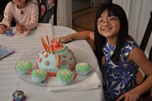 charlotte with her cake 300x199 Great 7 Year Old Girl Birthday Party Idea: Tea and Craft Party!
