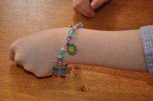 finished bracelet 300x199 Great 7 Year Old Girl Birthday Party Idea: Tea and Craft Party!
