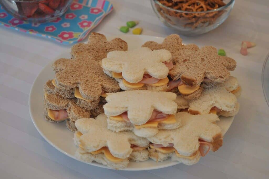 flower sandwich platter 1024x680 Great 9 Year Old Girls Birthday Party Idea: A Spa Party!