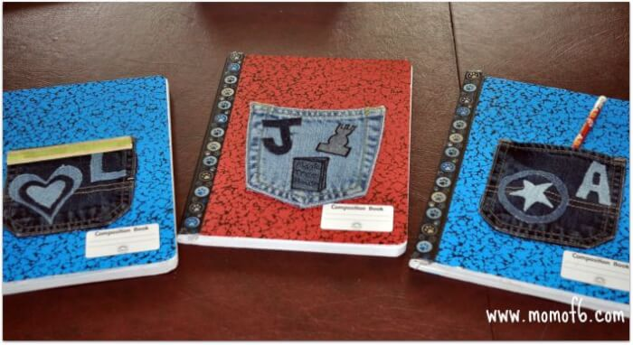 Momof6 Denim Pocket Notebooks1 Summer Crafts for Kids {Summer Camp at Home}