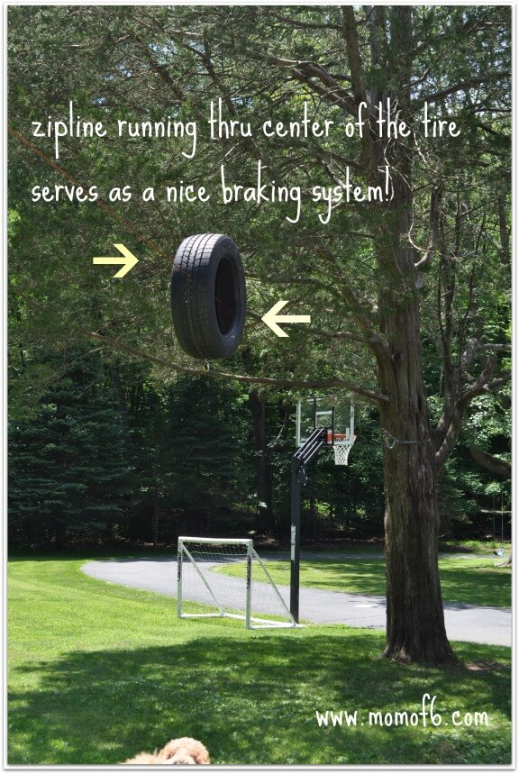 Momof6 Zipline set up tire A Great Thing To Have for Your Summer Camp At Home  A Zipline!