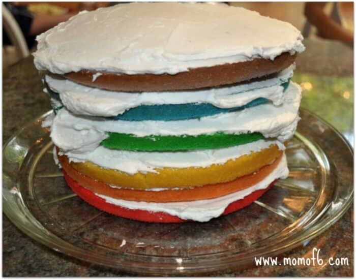 Momof6 Rainbow Cake3 Cooking With The Kids: Rainbow Cake!