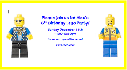 Lego Party Invite A Lego Birthday Party!