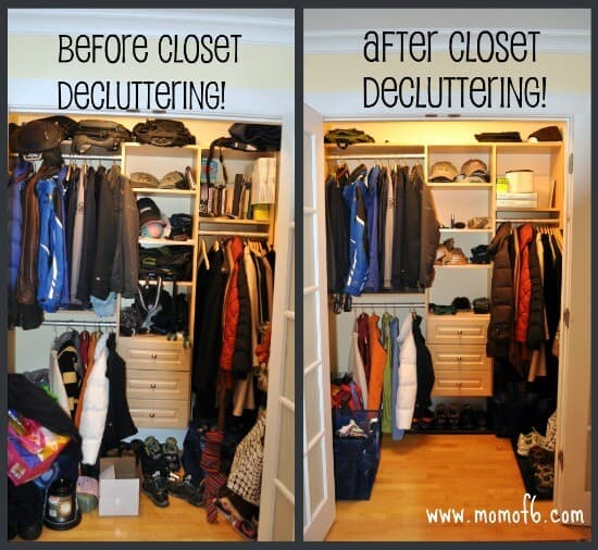 Before and after closet organizing