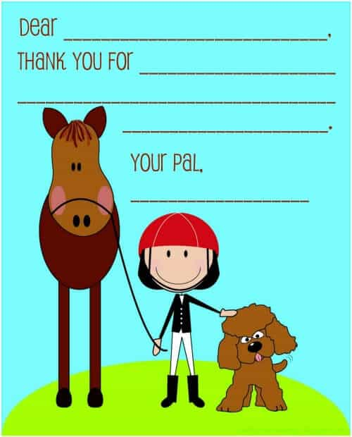 Thank You Note 8 Year Old Girls Birthday Party Idea: Ponies and Puppies!