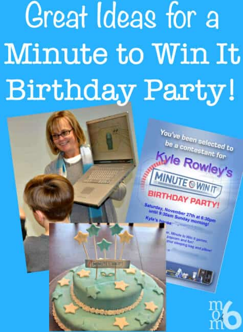 "Fantastic ideas for hosting a Minute to Win It birthday party at home! This post includes ideas for Minute to Win It party games (with links to the ""blueprints"") and prizes, and lots of tips on how to make your Minute to Win it Party awesome!"