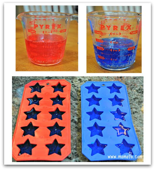 Red and Blue Star Cubes A Simple but Fun Idea for July 4th: Star Shaped Ice Cubes!