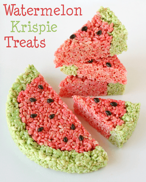 Watermelon Rice Krispie Treats Links to Love: The Watermelon Edition