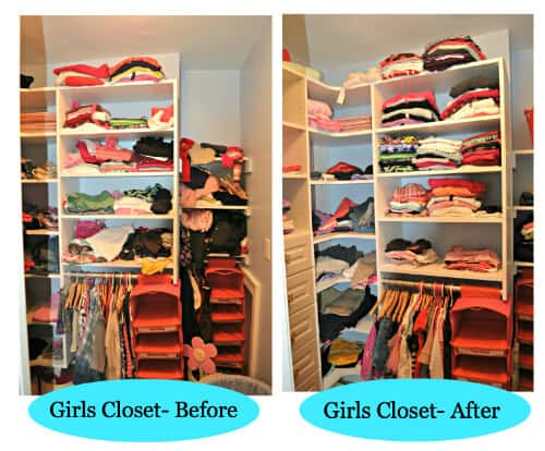 Girls Closet Before After Gearing Up for Back to School: Clothes Closet Organization!