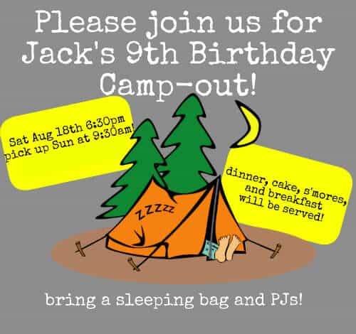 Jacks 9th Birthday Invite Great 9 Year Old Boy Birthday Party Idea: Backyard Campout Sleepover!