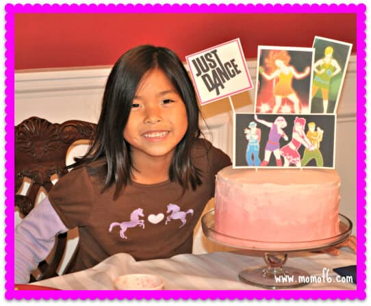 Just Dance Half Sleepover Party Lili with cake 7 Year Old Girl Birthday Party Idea: Just Dance Half Sleepover Party!