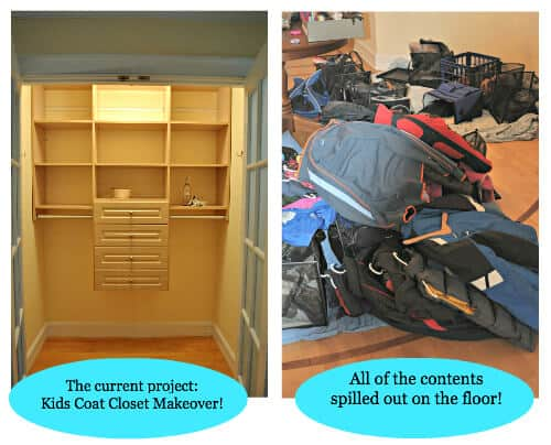 Kids Coat Closet Makeover in Progress Gearing Up for Back to School: Clothes Closet Organization!