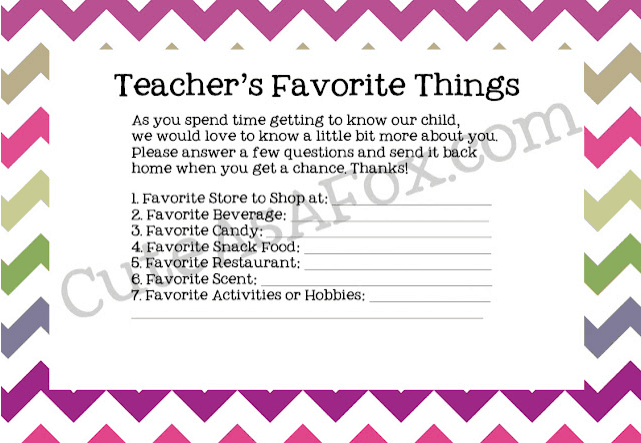 Teacher Questionnaire Links to Love: The Back to School Edition
