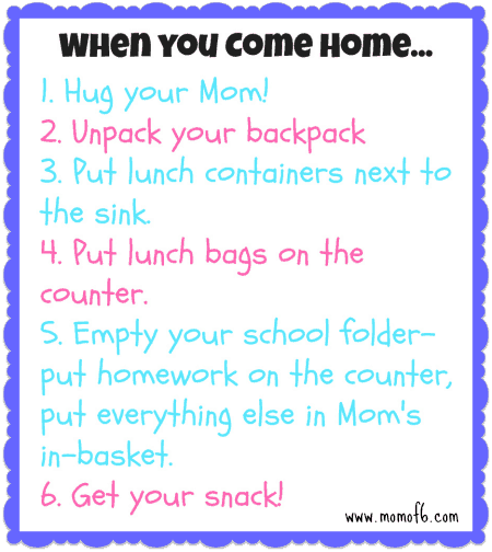 When You Come Home for Momof6 Get Your Life Organized Boot Camp {Week 2 }  Establishing Routines For Your Family!