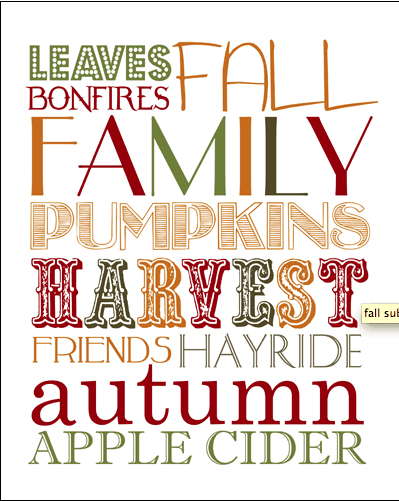 Fall Subway Art Printable Links to Love... Cool Stuff from Around the Web!