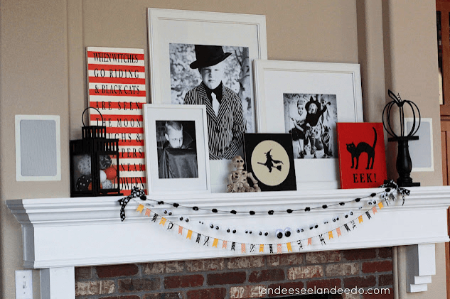 Halloween Mantle with Kids Photos Links to Love: Decorating Inspiration and Fall Yumminess