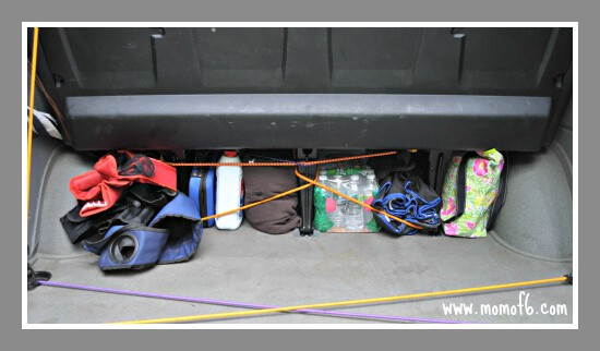 Organized car all stowed away How To Get Your Car Organized for the Fall Sports Season!