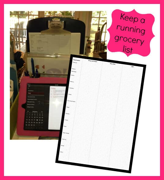 Keep a running grocery list Get Your Life Organized! Calendar and To Do Lists  Bonus Ideas and a Link Up!