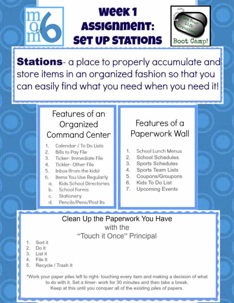 Momof6 Get Your Life Organized Week 1 Assignment Set Up Stations 791x1024 Get Your Life Organized Boot Camp {Week 1 }  Set Up Some Stations!