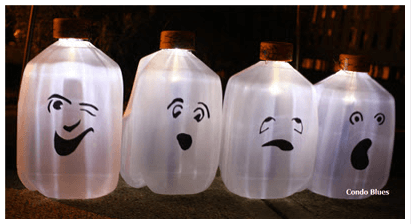 Solar milk jug ghosts Links to Love  Last Minute Easy Halloween Ideas