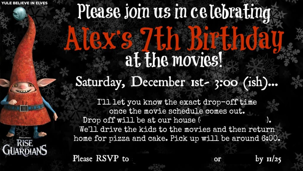 Rise of the Guardians Birthday Party Invitation 1024x577 Great 7 Year Old Birthday Party Idea: Rise of the Guardians {Go Out to the Movies} Birthday Party!