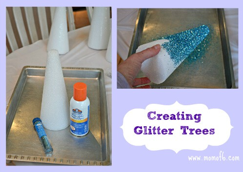 Creating Glitter Trees Ribbon Trees and Wrapped Candles for a Winter Mantle Display!