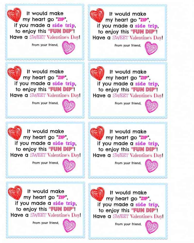 8 Valentine's Fun Dip Cards