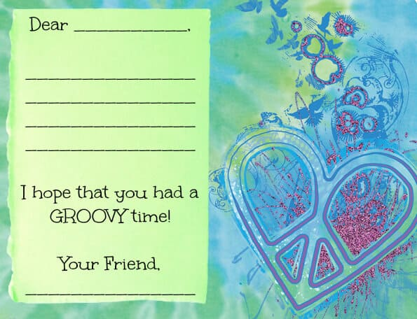 Tie Dye Party Thank You Note Great 9 Year Old Girl Birthday Party Ideas: Tie Dye Party!