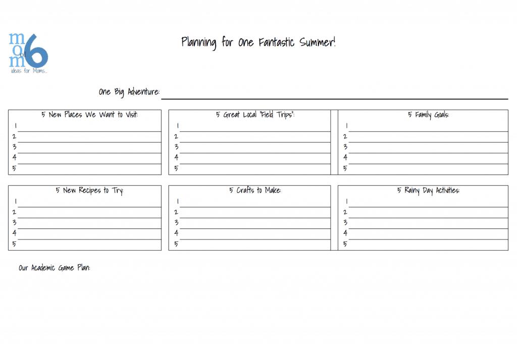 Summer Planning Sheet | Momof6