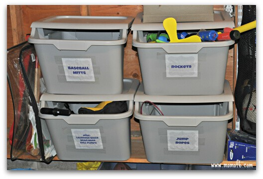 Summer garage fun stations- bins