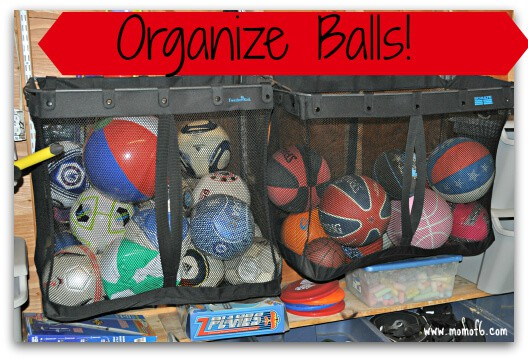 Summer garage fun stations-organize balls