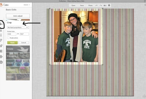 crop the matted photo