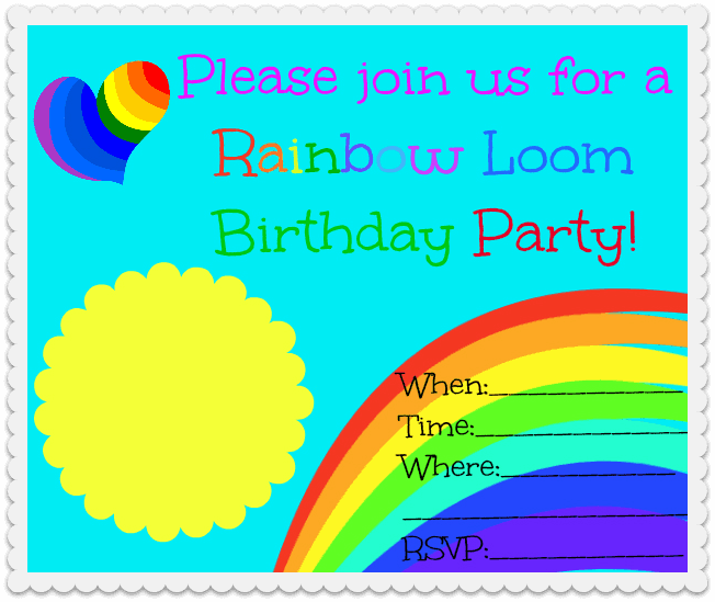 Rainbow Loom Party Blank Rainbow Loom Birthday Party!
