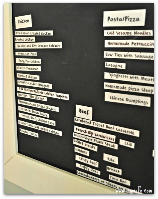 Menu Plan- the board- up close