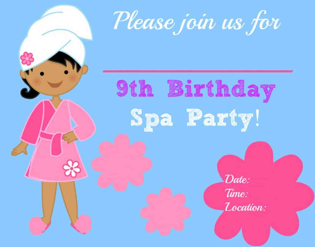 Spa Party Invite Blank 1024x801 Great 9 Year Old Girls Birthday Party Idea: A Spa Party!