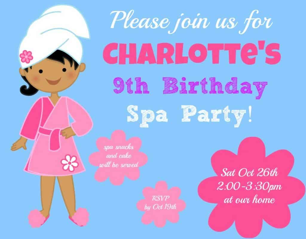 Spa Party Invite completed 1024x801 Great 9 Year Old Girls Birthday Party Idea: A Spa Party!
