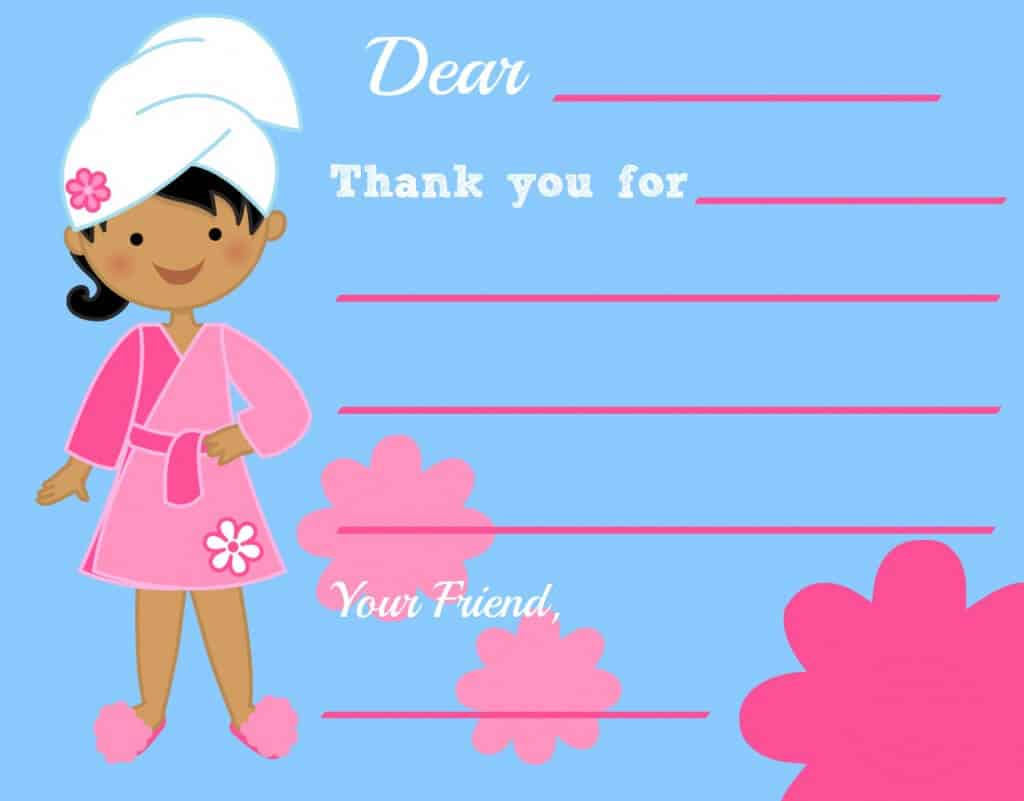 Spa Party Thank You Note 1024x801 Great 9 Year Old Girls Birthday Party Idea: A Spa Party!