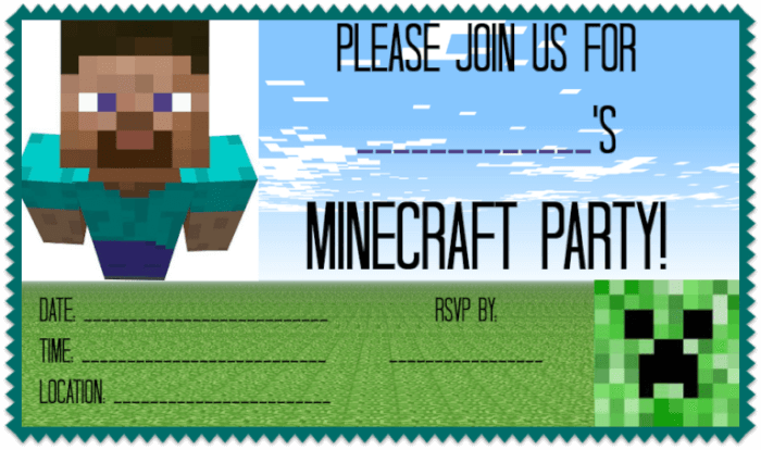 ... free printable Minecraft party invitations, ideas for Minecraft party