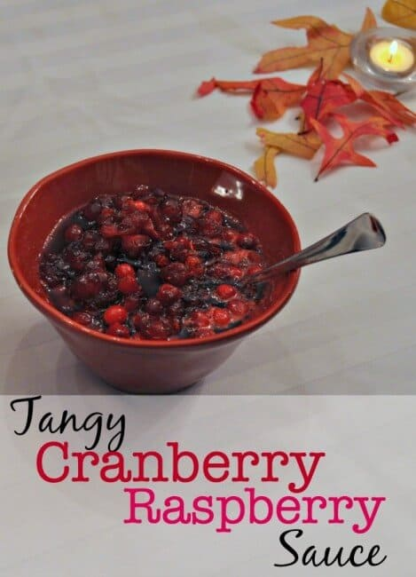 Homemade cranberry sauce is so simple to make- there is really no excuse for serving anything else. And once you taste this tangy version made with raspberry vinegar- you'll want to make it for more than just your Thanksgiving table- you'll want to serve it with roasted chicken, porch chops- even steak! Here's my recipe for tangy cranberry raspberry sauce!