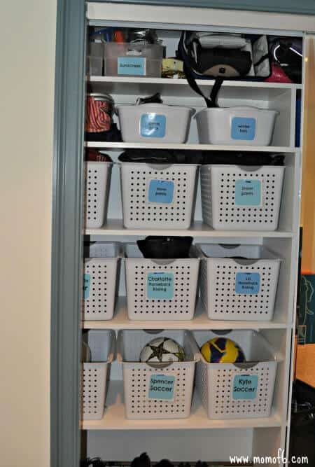 Mud Room- labeled bins