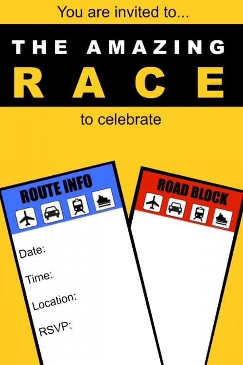 Amazing Race Birthday Party Invite Blank 500x750 Great 11 Year Old Party Idea: The Amazing Race Birthday Party!