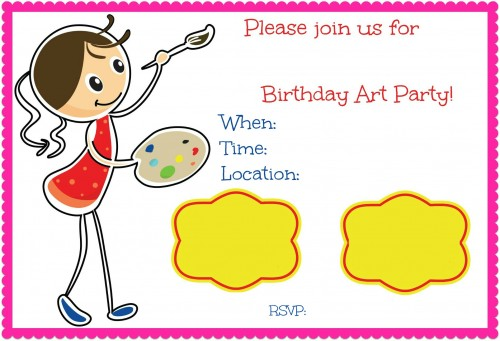 Art Party Birthday Invite 500x341 Art Birthday Party! A Great Party Idea for 10 Year Old Girls!