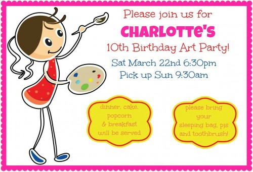 Charlottes 10th Birthday Invite for Momof6 500x341 Art Birthday Party! A Great Party Idea for 10 Year Old Girls!