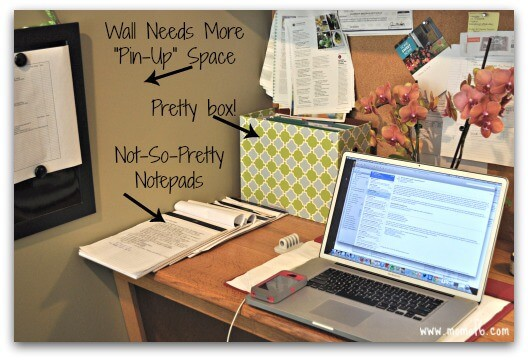 Organizing the Home Office with Washi Tape- desk space before